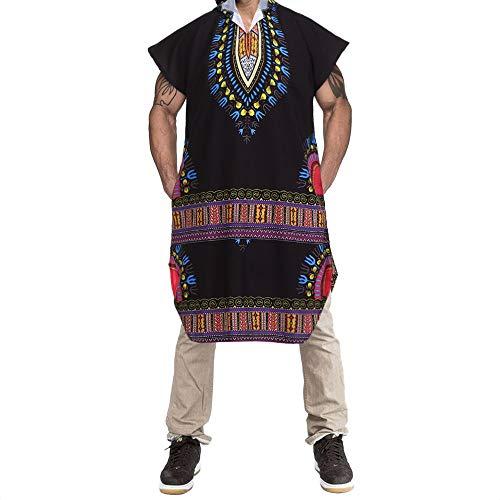 KPILP Herrenmode Neu Hipster Hiphop Afrikanischer Übergröße Dashiki Kapuzenpullover Zur Seite Fahren Langleine T-Shirt Pullover Bluse Oberteile(Schwarz, L