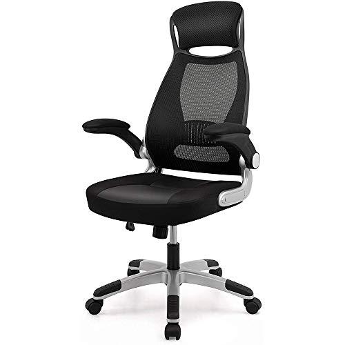 ZHFC Silla de oficina reclinable con reposapiés, silla giratoria para computadora con soporte lumbar de masaje, respaldo alto ajustable, asiento suave giratorio 360°, muebles de oficina en casa