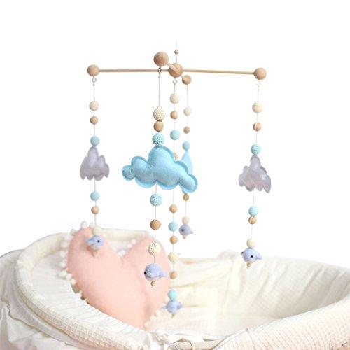 baby tete Lit de Bébé Lit Mobile Bell Rattle Toys Lit de Bébé Blanc et Bleu Carillon Mobile en...