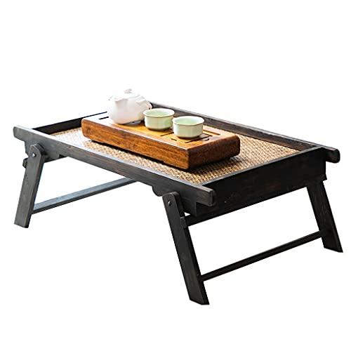 Mesas Mesa de recepción de madera maciza tejida con bambú Terraza mesita tatami Mesa de centro plegable Mesa de té, mesa de té, ventanal, mesa baja para sentarse ( Color : Brown , Size : 62*38*22cm )