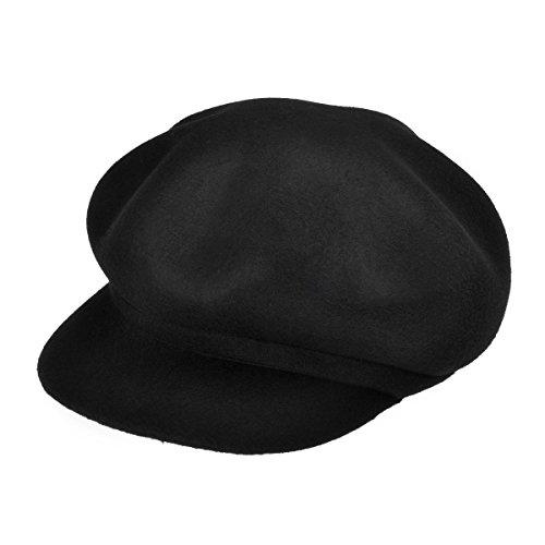 ZLYC Women 100% Wool Felt Fashion Octagonal Hat Newsboy Cabbie Beret Cap with Visor Brim, Black