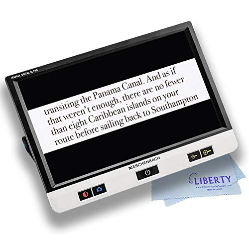 """Eschenbach Visolux Digital XL FHD - Advanced Portable Color Video Magnifier (XL 12"""" TFT LCD Touch Screen with Anti-Glare Coating, FHD Camera, and Built-in Stand) - Includes Liberty Cleaning Cloth"""