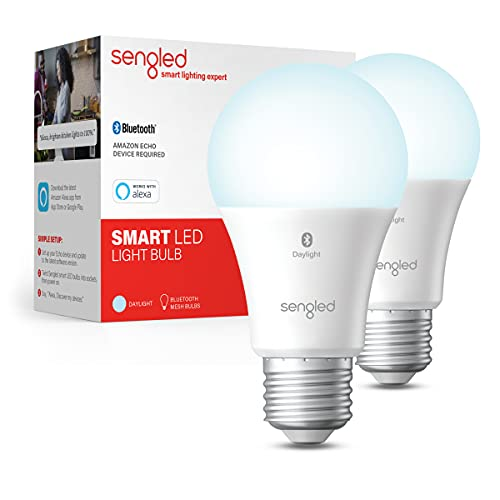 Sengled Smart Light Bulb, Bluetooth Mesh Smart Bulb That Works with Alexa Only, Dimmable LED Blub, 800LM, Day White 5000K, 8.7W (60W Equivalent), 2 Pack – A Certified for Humans Device