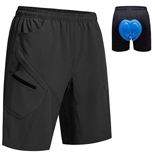 Men's Mountain Bike Shorts 3D Padded Lightweight Loose-Fit Bicycle Cycling MTB Bike Shorts Black