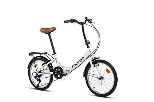 Moma Bikes Bicicleta Plegable Urbana SHIMANO FIRST CLASS 20' Alu, 6V. Sillin Confort, Blanco