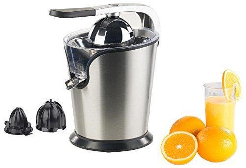 Rosenstein & Söhne Orangensaft Presse: Elektrische Edelstahl-Zitruspresse, 2 Aufsätze, Saftbehälter, 160 Watt (Fruchtpresse)