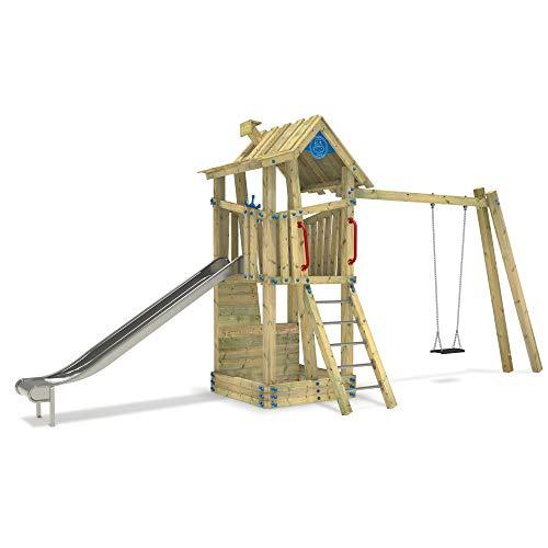 Wickey Giant Treehouse speeltoestel, speeltoren, klimrek met roestvrij stalen glijbaan en schommel