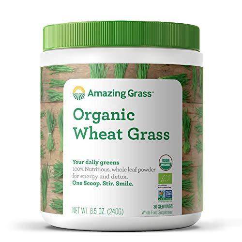 Amazing Grass BIO Weizengrass, Vollwertzutaten vs. Saftpulver, Spitzenqualität I für leckere Fitness-Shakes und grüne Smoothies I Vegan, Glutenfrei & Gentechnikfrei, Reich an Eisen, Zink und Folsäure