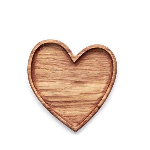 Edeldings Antibakterieller Massivholz Kinderteller HERZ aus Europa | Holzteller 17x15 cm | Originelles Geschenk für Verliebte zum Valentinstag | Holzschale, Servierschale, Kinderteller, Babygeschirr