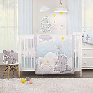 crib bedding and baby bedding disney dumbo - shine bright little star aqua, grey, yellow & orange 3piece nursery crib bedding set - comforter, fitted crib sheet, dust ruffle, aqua, grey, yellow, orange