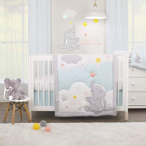 Disney Dumbo - Shine Bright Little Star Aqua, Grey, Yellow & Orange 3Piece Nursery Crib Bedding Set - Comforter, Fitted Crib Sheet, Dust Ruffle, Aqua, Grey, Yellow, Orange