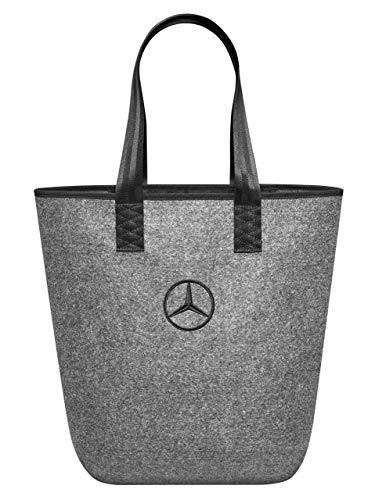Mercedes-Benz Collection Einkaufstasche in grau | Einkaufstasche aus Filz | Farbe: grau/silber | Maße: ca. 26 x 14 x 40 cm | Innentasche mit Reißverschluss und Karabinerhaken