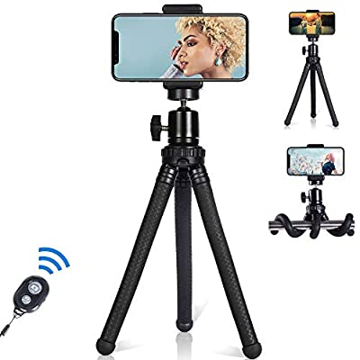 Cell Phone Tripod with Wireless Remote, 360°Rotation Flexible Travel Selfie Camera Tripod Stand for Smartphone/Sport Camera/GoPro/DSLR, from