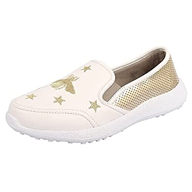 KazarMax Boys & Girls (Unisex) White Gold Bee Latest Collection, Comfortable Sneaker Shoes [Washable]