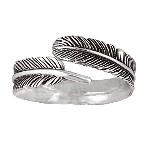 Silverly Women's .925 Sterling Silver Oxidized Delicate Feather Plume Adjustable Wrap Band Ring