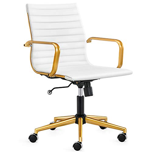 LUXMOD Gold Office Chair in White Leather, Mid Back Office Chair with Armrest, White and Gold Ergonomic Desk Chair for Back Support, Modern Executive Chair White and Gold,Gold Swivel Office Chair