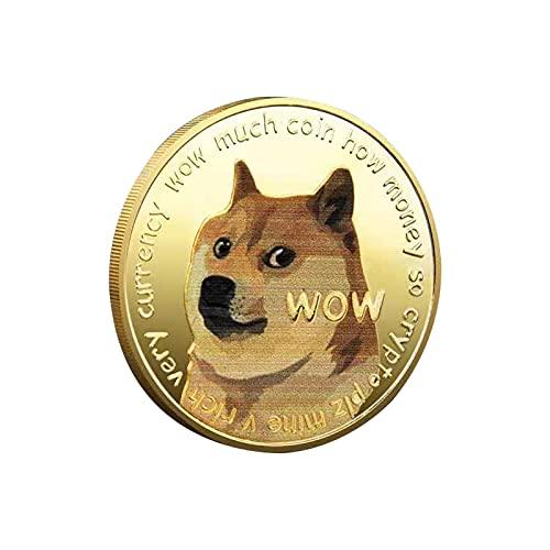 JiYanTang Monedas conmemorativas de Dogecoin chapadas en Oro, Moneda Conmemorativa de Doble...