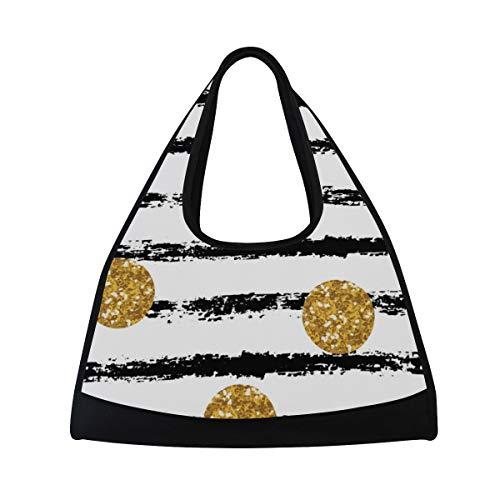NISENASU Sporttasche,Schwarzes Stripes GoldGlitter Dots,Neue Sport Reisetaschen Tennisschläger Rucksack Badminton Kurze Reisetaschen tragbare Umhängetasche (20×6.7×18.5 inch)