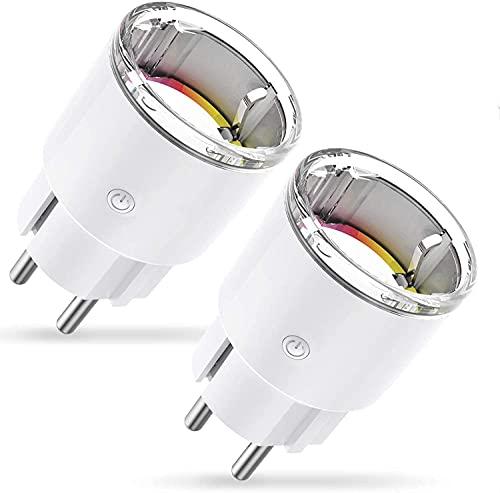 Mini Wifi Enchufe Inteligente, Enchufe programable WIFI Control Remoto por APP, Smart Plug Funcionar con Monitor de Energía/Temporización, Compartible con Alexa/Google Home, Modelo EP2-2, 2 Packs