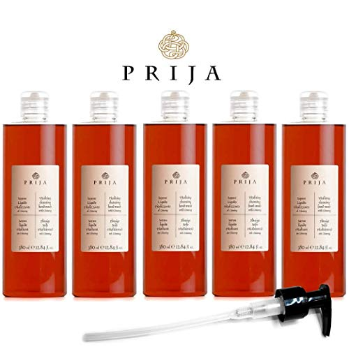 Prija Flüssigseife 5x 380ml mit Ginseng Seife + 1x Prija Pumpspender