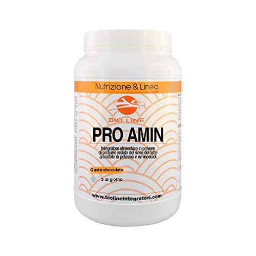 PRO AMIN - Integratore alimentare di proteine isolate del siero del latte arricchito con aminoacidi, Vitamina B6 e Potassio Citrato. (Gusto Cioccolato, Barattolo 500 g)