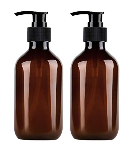 Yebeauty Pump Bottle, Shampoo Pump Bottles 10oz/300ml Refillable Empty Amber PET Plastic Shampoo, Conditioner & Wash Shower Dispenser Pump Bottle- Pack of 2