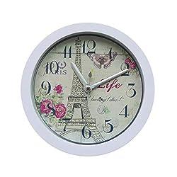 Silent Alarm Clock,FIN86 Classic Eiffel Tower Portable Clock Modern Graceful Bell Desk Creative Digital Alarm Quartz Clock,for Living Room Bedroom (White)