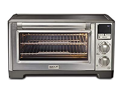 Wolf Gourmet Elite Digital Countertop Convection Toaster Oven with Temperature Probe and 7 Cooking Modes, Stainless Steel, Silver Knobs with Black Knob accessories (WGCO170SR)