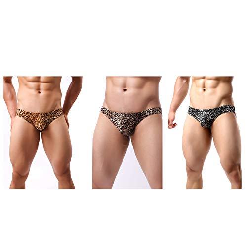HNJZX - Bragas de bikini para hombre con estampado de leopardo, talla baja, con espalda en T, 3 unidades (XL)