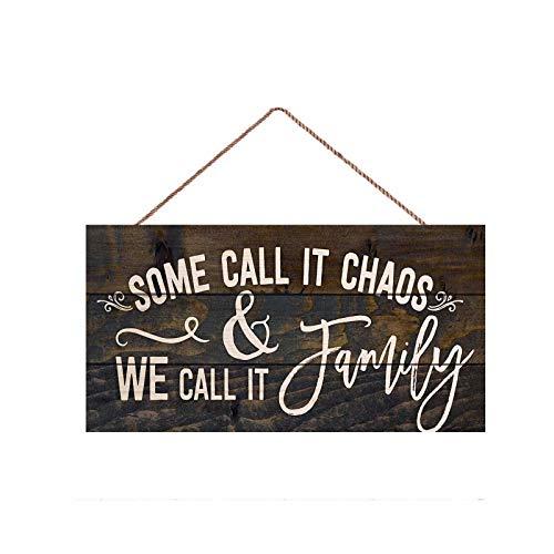 Some Call it Chaos We Call it Family, 12,7 x 25,4 cm, Holzplanken-Design, Hängeschild, Holzschild, Wandkunst, Poster, Heimdekoration