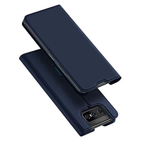 BaiFu Hülle für Asus Zenfone 7 Pro ZS671KS/7 ZS670KS Lederhülle Flip Hülle mit Magnetischem Superdünnem seidigem Brieftasche Schutzhülle Kompatibel mit Asus Zenfone 7 Pro ZS671KS/7 ZS670KS-Blau