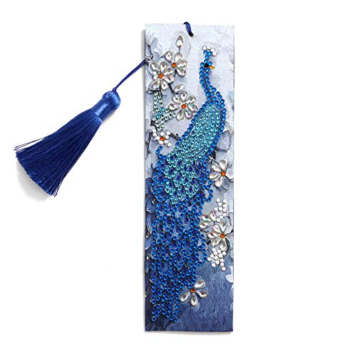 HXYQMMY Diamond Painting Bookmarks -Diamond Painting by Number Kits,Painting Cross Stitch Peacock Partial Drill Crystal Rhinestone Embroidery Pictures Arts Craft for Reading Gift Ross Beauty