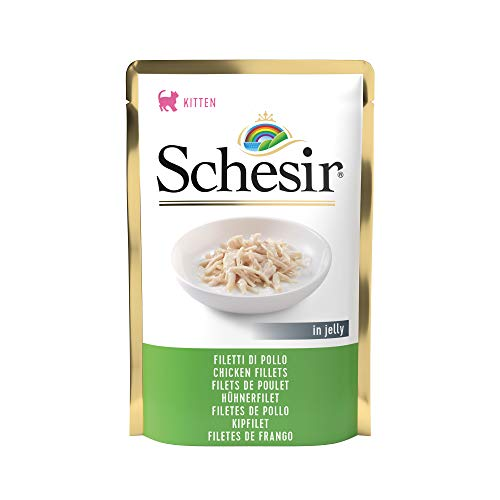 Schesir, Comida Húmeda para Gatitos, Sabor filetes de Pollo en gelatina Blanda - Total 1,7 kg (20 Sobres x 85 gr) ✅