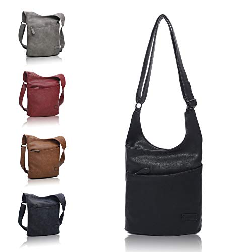 Damen Umhängetasche - Schultertasche Schwarz - Damenhandtasche - Handtasche - Crossbody - Messenger Bag - Shopper Tasche - premium Tote