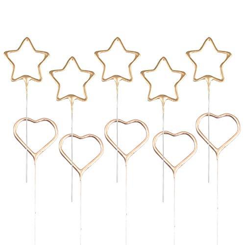 10 pezzi candele di compleanno a forma di stella torta candela cuore torta candela stella cupcake toppers candele scintillanti d'oro per compleanno matrimonio anniversario celebrazione festival natale