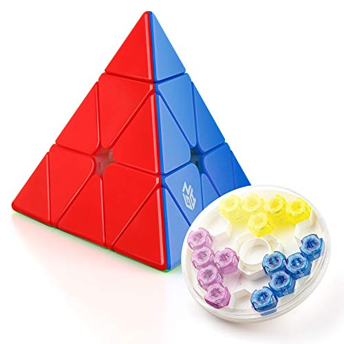 Coogam GAN Pyraminx M Enhanced, Gans Pyramid Stickerless Magnetic Triangle Speed Cube Puzzle GES+ (60 Magnets)