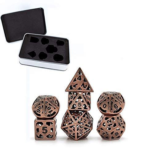 DND Würfel-Set, Metallwürfel, Metallwürfel, D&D mit Metallgehäuse, 7-teilig