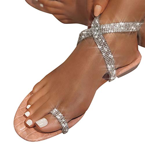 Aniywn Women s Ankle Strap Sandals Bohemia Bling Rhinestone Flat Gladiator Sandals Crystal Toe Ring Dress Shoes Pink