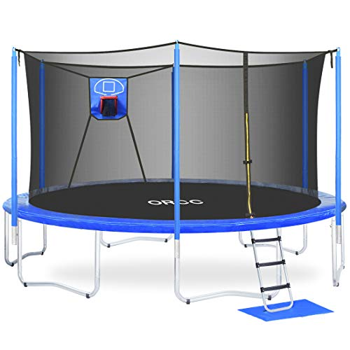 ORCC Kids Trampoline 15FT 14FT 12FT Basketball Trampoline Maximum Weight Capacity 400LBS with Safety Enclosure Net, Ladder, Rain Cover, Basketball Hoop and Ball, Round Trampoline for Backyard(14ft)