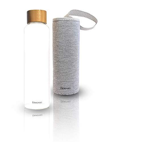 Erminio 550ml hochwertig Handgeblasene Trinkflasche aus Borosilikat Glas, mit Baumwoll - Schutzhülle und tragegriff, Bambusdeckel mit Edelstahl Einsatz, tragbare Getränkeflasche