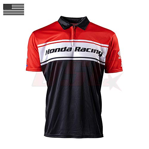 Red, Black & White Performance Polo Pit Crew Shirt Dirt Bike Racing Apparel For Honda Size Large