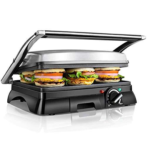 Aigostar Samson 30KLU- XXL Kontaktgrill Panini Grill,Sandwich Maker,2000 Watt, antihaft beschichtetes Edelstahl, 180 Grad aufklappbar, Temperaturkontrolle, EINWEGVERPACKUNG.