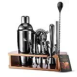 KITESSENSU Cocktail Shaker Set Barkeeper Kit mit Ständer | Bar Zubehör Drink Mixer Set zum Mixen von Getränken - Martini-Shaker, Jigger, Sieb, Mixer-Löffel, Muddler, Likör-Ausgießer, mehr | Schwarz