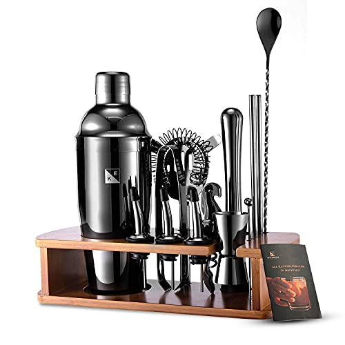 KITESSENSU Cocktail Shaker Set Bartender Kit with Stand