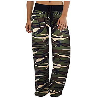 Excursion Clothing Women's Comfy Casual Pajama Pants Camouflage Print Drawstring Palazzo Lounge Wide Leg Pants