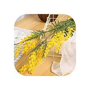 Charmg 88cm 3 Branches Artificial Acacia Yellow Mimosa Pudica Spray Fake Silk Flower Wedding Party Event Decor Red Bean Plant,Yellow,1 pcs