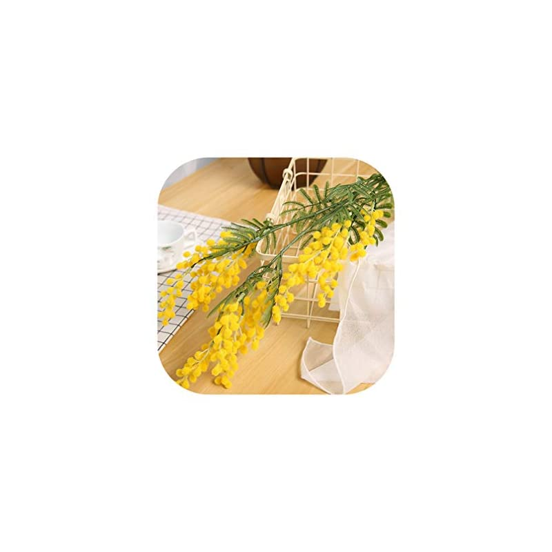 silk flower arrangements charmg 88cm 3 branches artificial acacia yellow mimosa pudica spray fake silk flower wedding party event decor red bean plant,yellow,1 pcs