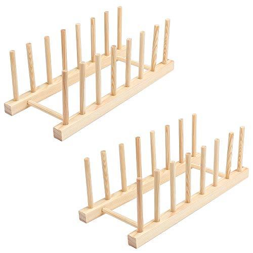 Coolty 2 Stück Tellerständer, Abtropfgestell Abtropfgestell Teller Ständer, Bambusregal Küche Holz Bambus für Aufbewahrung CD Geschirr Buch Weinglas