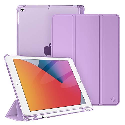 """FINTIE Funda para iPad 10,2"""" 2020/2019 con Soporte Integrado para Pencil - Trasera Transparente Carcasa Ligera Función de Auto-Reposo/Activación para iPad 8/7.ª Generación, Lavanda"""