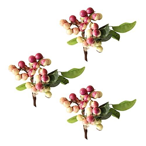 BYHUACN 3Pcs Artificial Berry Bouquet, Faux Lifelike Plant Fruit, Fake Silk Berry Flower Stem, for Home Office Wedding Flower Arrangements Decor